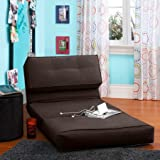 Your Zone Flip Chair | Chair Easily Converts Into a Bed | Ultra Suede Material (1, Brown)
