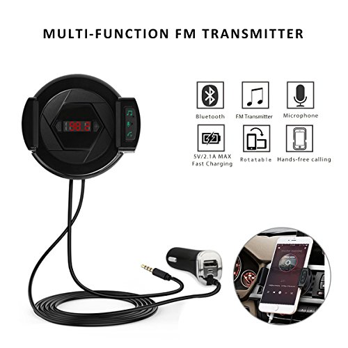 Bluetooth FM Transmitter Phone Holder Fast Car Charger USB HIFI In-Car Wireless Audio Receiver Stereo Radio Adapter Car Kit With AUX Input Microphone for iPhone Android MP3 Hands Free Calling