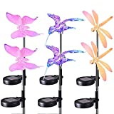 PinPle Solar Garden Lights 6 Pack of Colorful Lawn Lights - Hummingbird & Butterfly & Dragonfly - Solar Powered Yard Lights for Outdoor Garden Lawn Patio Yard