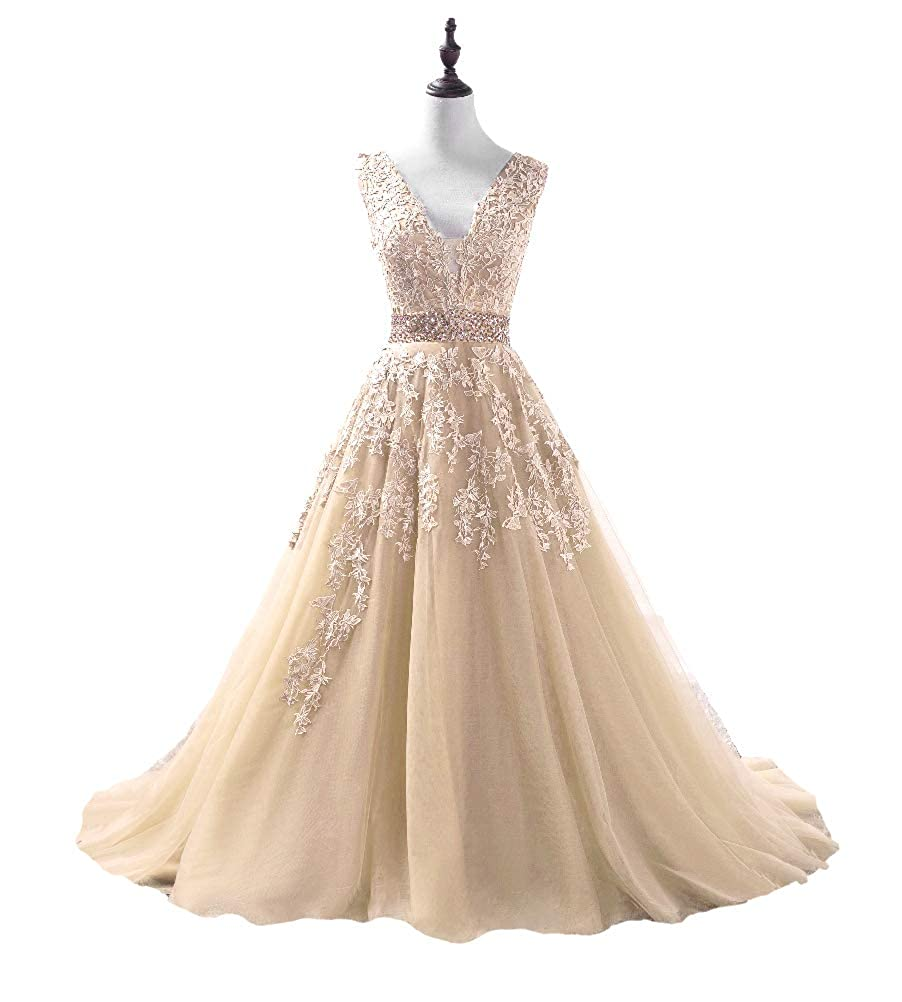 Champagne DKBridal Women's V Neck Applique Beaded Prom Dress Long Tulle Aline Evening Party Gowns 2019