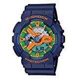 Casio Mens GA110FC 2A Blue Resin Quartz Watch with Green Dial
