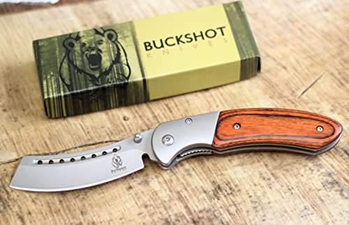 Buckshot Knives Thumb Open Spring Assisted Cleaver Classic Pocket Knife (PBK219WD)