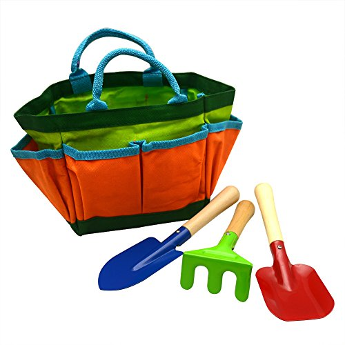 Colorful-Kids-Gardening-Tool-Canvas-Bag-Set-Trowel-Rake-Fork-Childrens