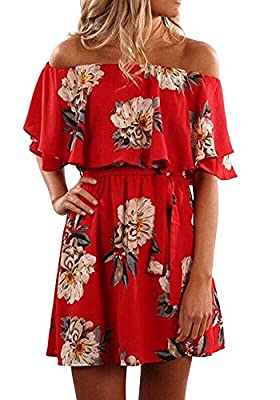 Pxmoda Women's Off Shoulder Floral Print Beach Dress Ruffle Mini Dress