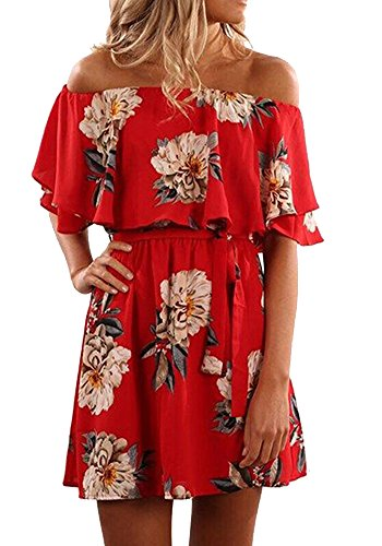 Pxmoda Women's Off Shoulder Floral Print Beach Dress Ruffle Mini Dress Red