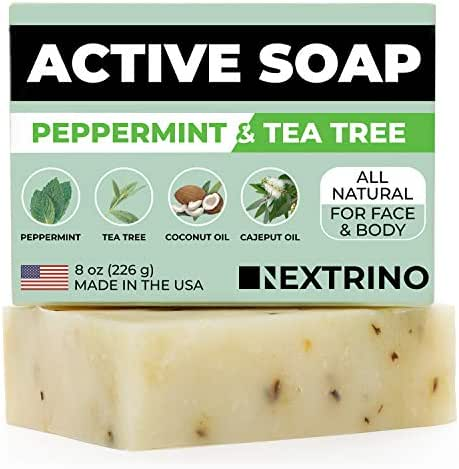 Tea Tree Soap with Peppermint! Made in the USA: All Natural, Vegan Bar Soap with Organic Oils for Face & Body. Wash Away Odor & Germs (5-Pack of 4 Ounce Soap Bars)
