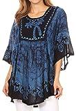 Sakkas 17030 - Lynda Two Tone Batik Embroidered Palm Tree Peasant Top/Poncho - Blue - OS