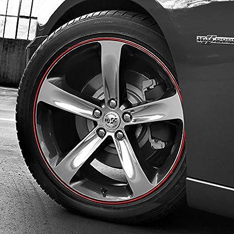 Amazon.com: Bandas de rueda rojo en negro Pinstripe Rim Edge ...