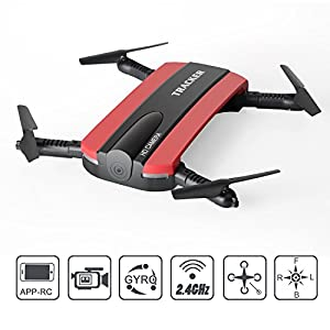 JXD 523W Foldable RC Quadcopter Mini FPV Drone with HD Camera Live Video,Mini Selfie Pocket Drone, 2.4G 6-Axis Altitude Hold App Controlled Aircraft Successory. by Successory