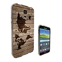 596 - Vintage Wood Design Look Vintage World Map Design Samsung Galaxy S5 / S5 Neo fashion Trend CASE Gel Rubber Silicone All Edges Protection Case Cover