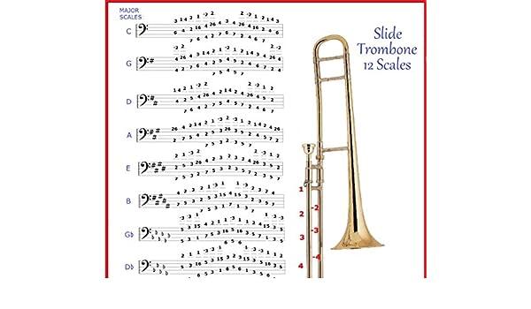 Amazon com: LEAD SLIDE TROMBONE 12 SCALES CHART: Musical
