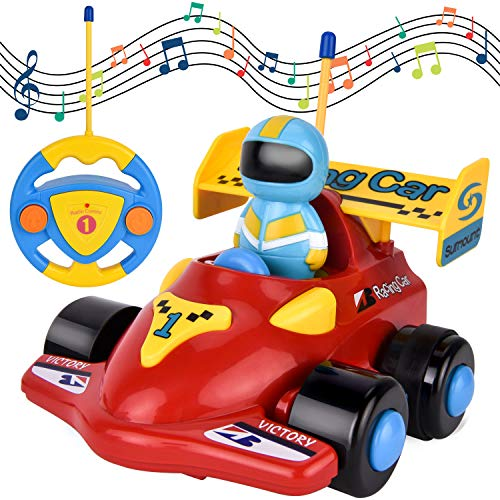 FILWO RC Cartoon Car, Remote Control Car with Light Music Radio Control Car Easy Control Toy Car Baby Race Car Birthday for Toddlers Kids Children 3 Year Old Musical Toy Play Vehicle (Red Racing Car)