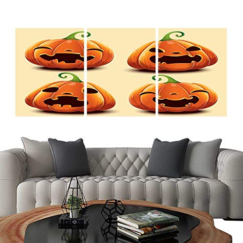 UHOO 3 Piece Wall Art Painting Set of Cute Realistic Pumpkins with Different Faces for Halloween Living Room Kitchen 24