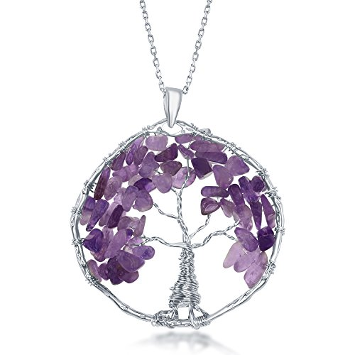 Sterling Silver Amethyst Natural Gemstone Beads Tree of Life 30