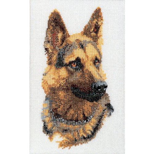Shepherd's Dog On Linen Counted Cross Stitch Kit-9.5