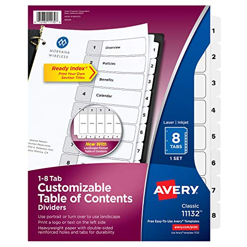 Avery Ready Index Table of Contents Dividers, Eight Tab, 1-8, Black/White, 1 Set (11132)