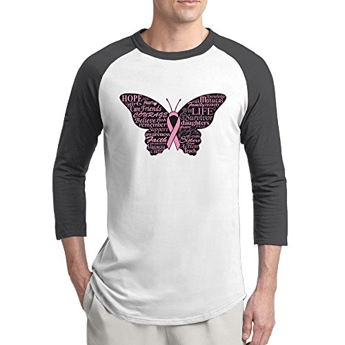 Mngjijis Breast Cancer Butterfly Men's 3/4 Sleeve Raglan Baseball Tshirts Black Large