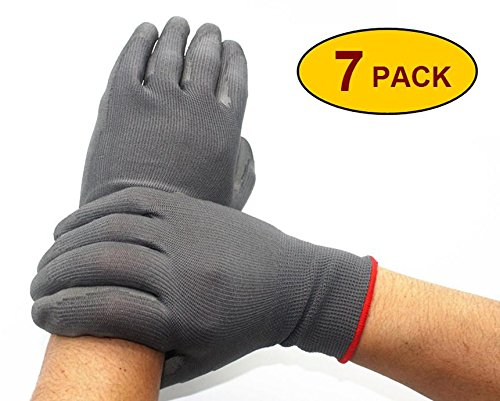 Skytree 7 Pairs Pack, Men's Work Gloves , Gardening Gloves, Comfort Flex Coated, Light Weight, Breathable Nylon Shell, Men's X- Large Size (Extra Large, Grey)