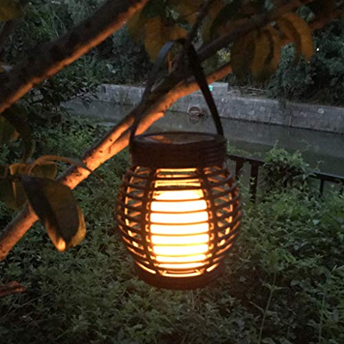 Iuhan Lantern Light Outdoor, Industrial Vintage Metal Cage Hanging Ceiling Pendant Light Holder Lamp Shade Rattan Flame Lamp (Black) by Iuhan  (Image #2)