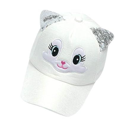 8b7be37b Amazon.com: ❤ Mealeaf ❤ Baby Boy Girls Hats Soft Bunny Cartoon Sunhat Eaves Baseball  Cap Sun Hat Beret(White,): Home & Kitchen
