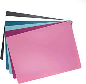 Non-slip Backing Flexible Cutting Mats, Plastic Cutting Boards Multiple Used as Placemat for Kitchen, Knife friendly, Dishwasher Safe, 6 Colors, 6 Packs