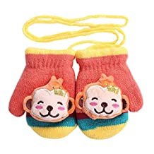 [Happy Monkey] Knitted Gloves with String Girls Boys Lovely Winter Mittens