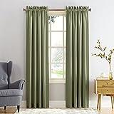 "Sun Zero Barrow Energy Efficient Rod Pocket Curtain Panel,Sage Green,54"" x 84"""