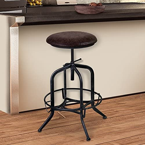Armen Living Elena Adjustable Barstool in Brown Fabric and Industrial Grey Metal Finish