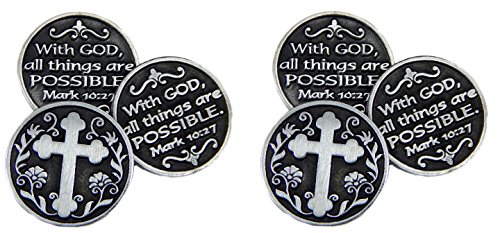"""Pewter POCKET Tokens WITH GOD All Things ARE Possible - MARK 10:27 - 1"""" Metal Coin - INSPIRATIONAL Gift - KEEPSAKE - Set of 6"""