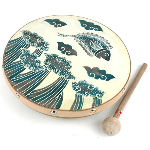 Goat Skin Head Frame Drum Featuring a Jumping Fish Batiked Design by Global Crafts