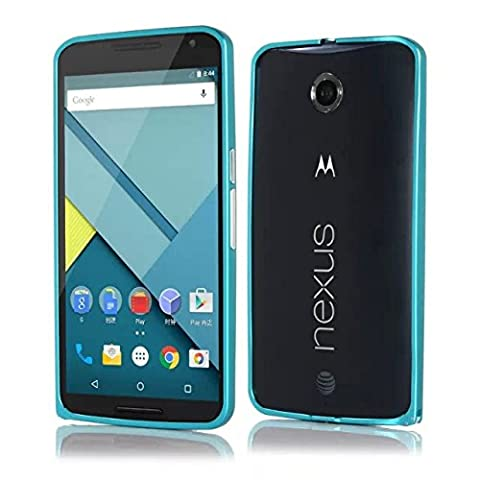 Hi5Gadget ZLDECO Luxury Slim Arc Edge Aluminum Metal Bumper Case For Motorola Google Nexus 6 (Blue) (Nexus 6 Case Aluminum)