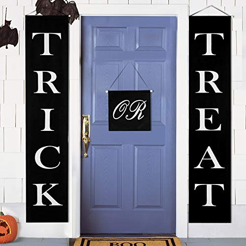 MACTING Trick or Treat Halloween Banner 3-Pc Set for Home Indoor Outdoor Halloween Decorations