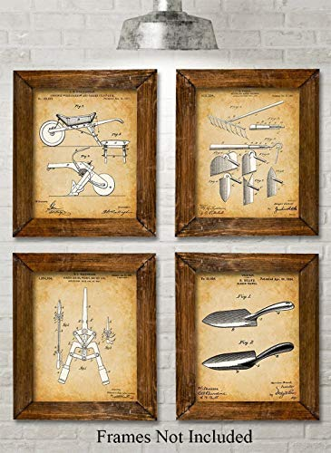 (Original Garden Tools Patent Prints - Set of Four Photos (8x10) Unframed - Great Gift for)