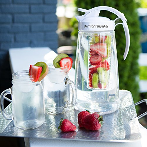 Fruit & Tea Infusion Water Pitcher - The PERFECT Mothers Day Gift - Free Ice Ball Maker - Free Infused Water Recipe Booklet - Includes Shatterproof Jug, Fruit Infuser, and Tea Infuser by MAMI WATA (Image #1)