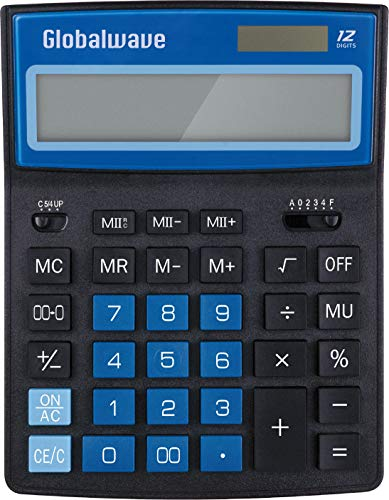 Calculator, Standard Function 8 inch Length Desktop Calculators, Solar and Battery Dual Power, Big Button 12 Digit Large LCD Display
