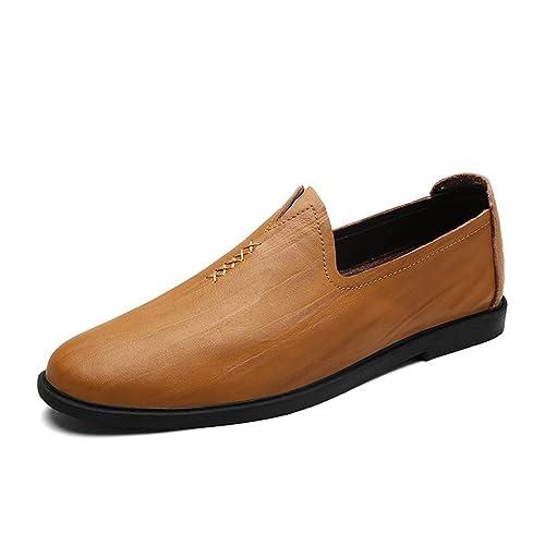 339084d3c66636 Chaussure Décontractée de Cuir Souple pour Homme Chaussure de Conduite sans  Lacet Antidérapant Résistant à l