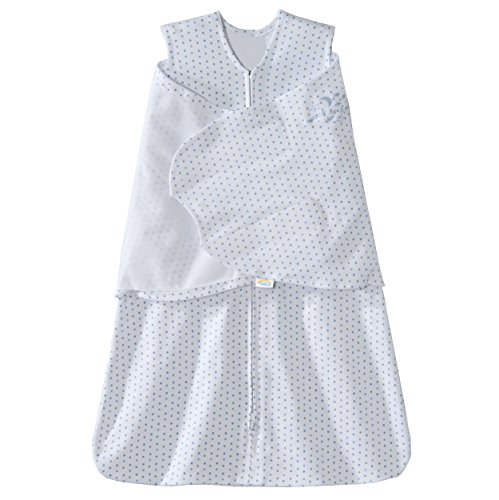 Halo SleepSack 100% Cotton Swaddle, Blue and Grey Dot, Small
