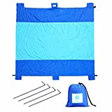 Is There a Bigger Bed Than a King Size Sand Proof Beach Blanket 100% Parachute Nylon Oversized – 7'x9' Feet, Quick Drying, Extra Large, Lightweight & Compact, 6 Pockets for Securing, 1 Pocket For Storage, Fits Up To 5 Adults, Camping,Beach