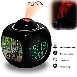 Girlsight Projection Alarm Clock Wake Up Bedroom with Data and Temperature Display Talking Function, LED Wall/Ceiling Projection, Dinosaur-302.406_Dinosaur, Robot, Jurassic