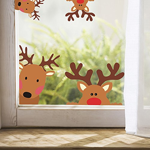 Season Reindeer - Reindeer Window Decals Nursery Wall Stickers Car Decal Home Decorations, 10 Count (Reindeer Decals)