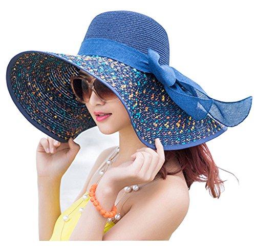 Hat Sun Wide Brimmed (ZZCC Women's Foldable Wide-brimmed Beach Hat Summer Sun Beach Hat)
