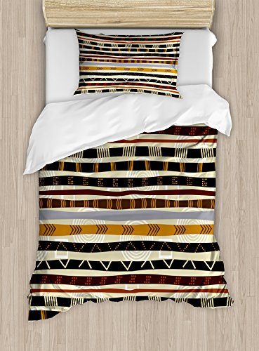 Ambesonne Abstract Duvet Cover Set Twin Size, Ethnic Style Geometric Forms with Striped Pattern on Bold Earth Tones Print, Decorative 2 Piece Bedding Set with 1 Pillow Sham, Orange Cream]()