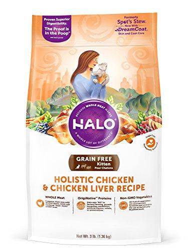 Halo Grain Free Natural Dry Cat Food, Kitten Chicken & Chicken Liver Recipe, 3-Pound Bag
