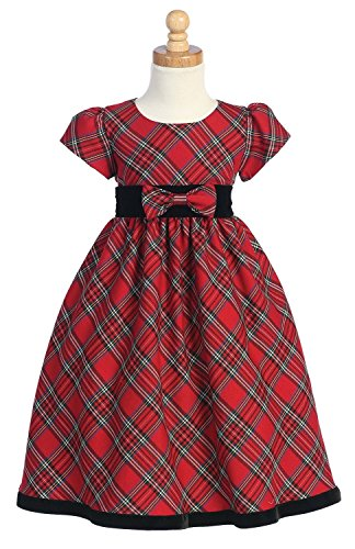 Girls Holiday Plaid Dress - Plaid Holiday/Christmas Girls Dress with Velvet Trim (5, Red)