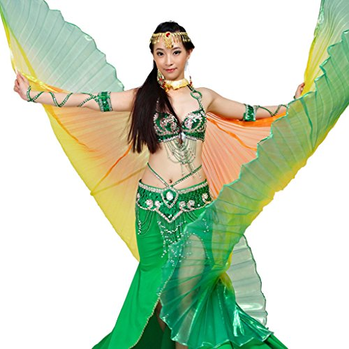 Pilot-trade Women's Egyptian Egypt New Belly Dance Costume Colorful Isis Wings (One Size, 4#orange-yellow-green)