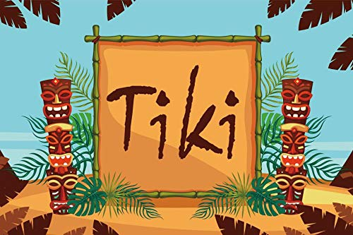 Laeacco Tiki Backdrop 5x3ft Vinyl Photography Background Frame Jungle Tropical Leaves Summer Party - Tiki Jungle