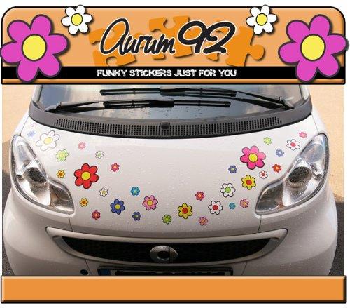 Aurum92 Pegatinas para Coche, diseñ o de Flores, 30 Unidades diseño de Flores