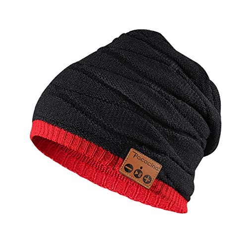 Price comparison product image Pococina Upgraded 4.2 Bluetooth Beanie Music Hat Winter Knit Hat Cap Wireless Headphone Musical Speaker Beanie Hat as Birthday Gifts for Men Women Teen Girls Boys,  Built-in Mic - YW4 Black