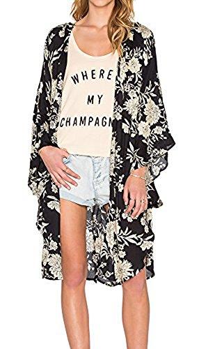Relipop+Women%27s+Sheer+Chiffon+Blouse+Loose+Tops+Kimono+Floral+Print+Cardigan+%28X-Large%2C+Black+3%29