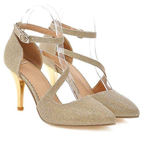 RAZAMAZA Tacco Gold Donna Scarpe alla Caviglia Cinturino con zUBzwqP